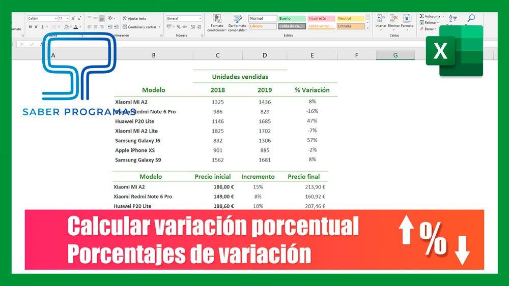 Variación porcentual en Excel