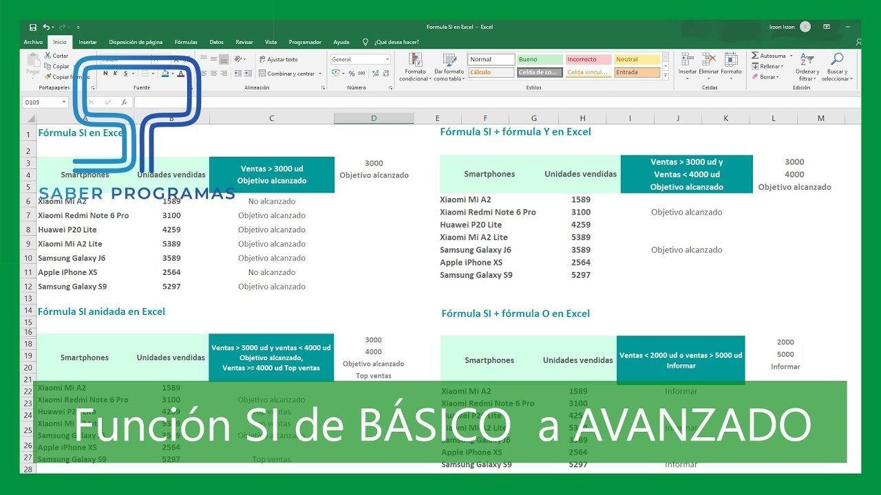 Función SI en Excel de básico a avanzado