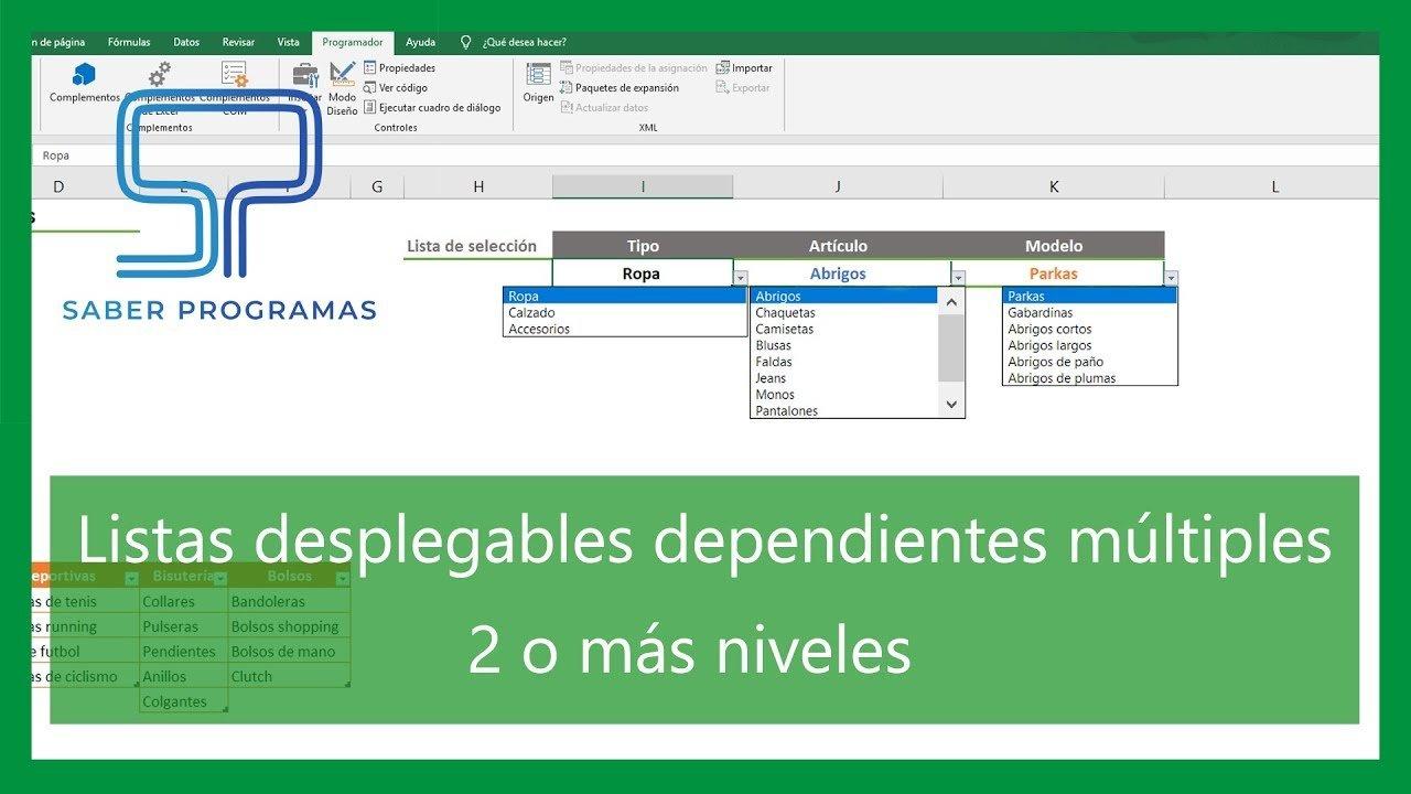 Listas desplegables de varios niveles en Excel