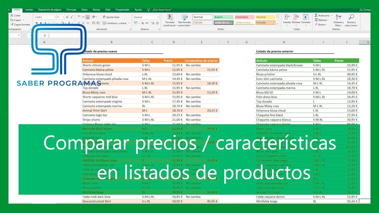 Comparar precios de productos en Excel