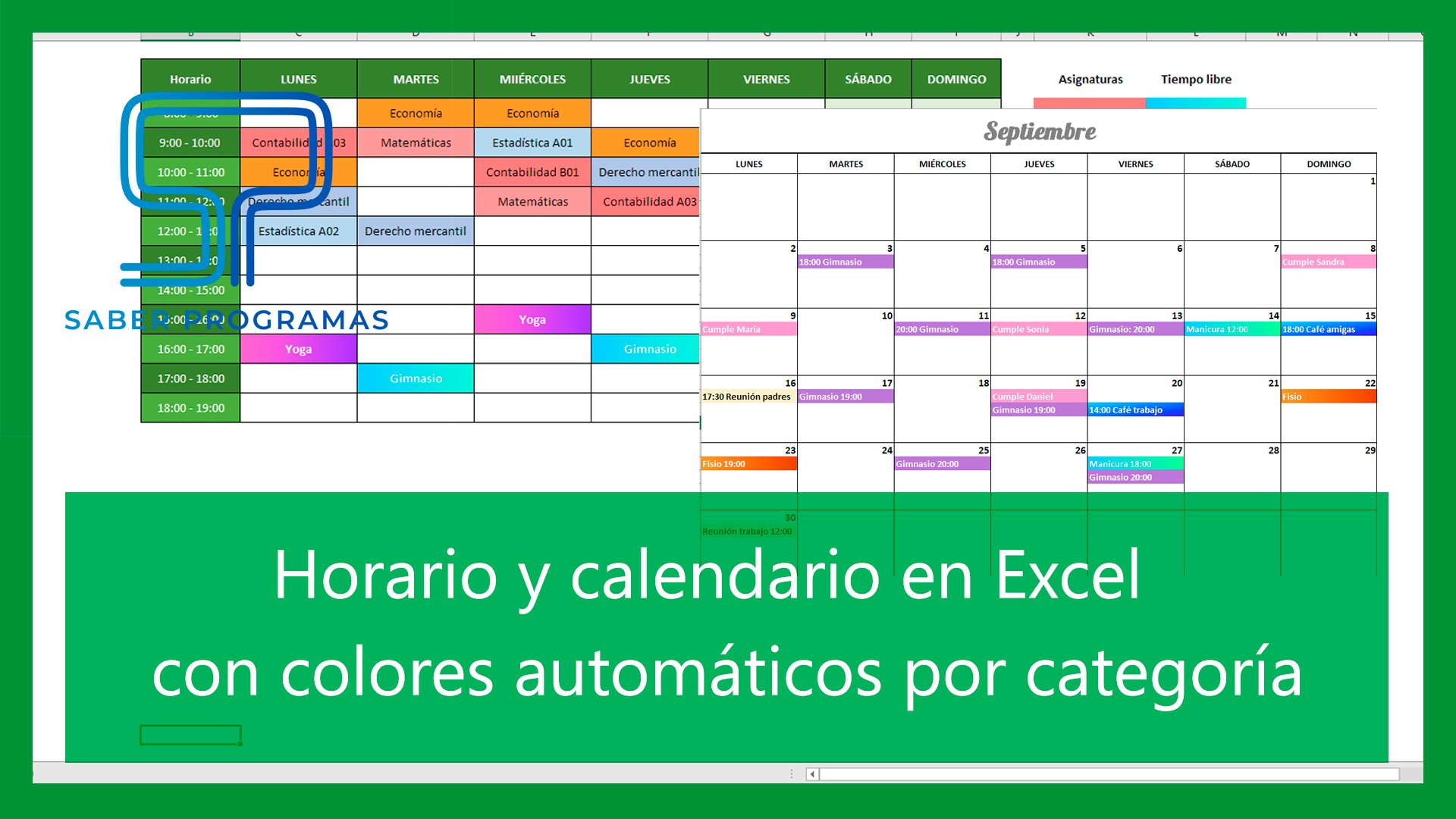 Automatiza horario y calendario en Excel