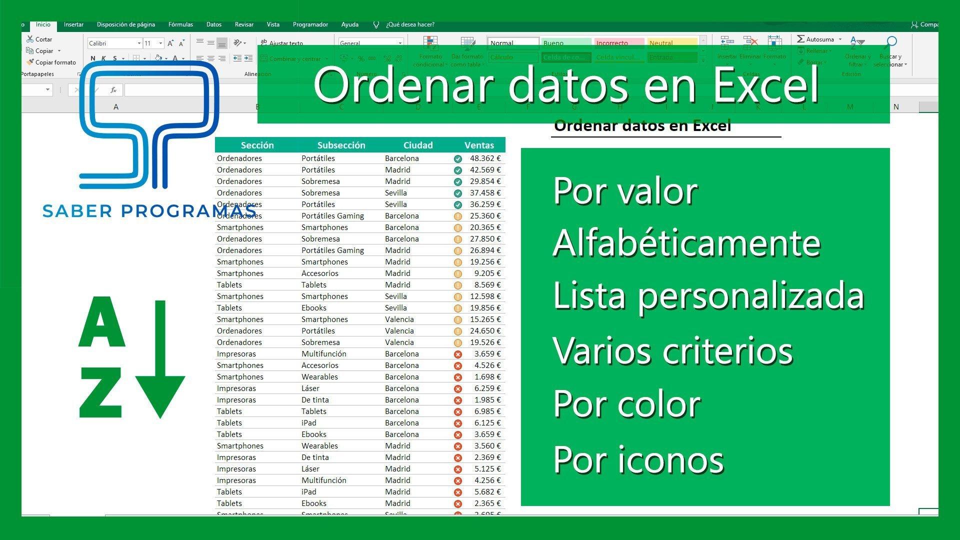 Ordenar datos en Excel | todas las opciones