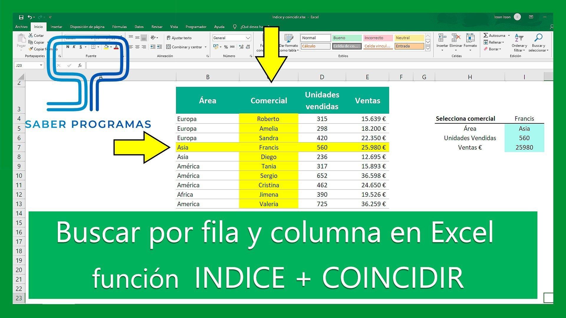 Buscar por fila y columna en Excel; INDICE y COINCIDIR