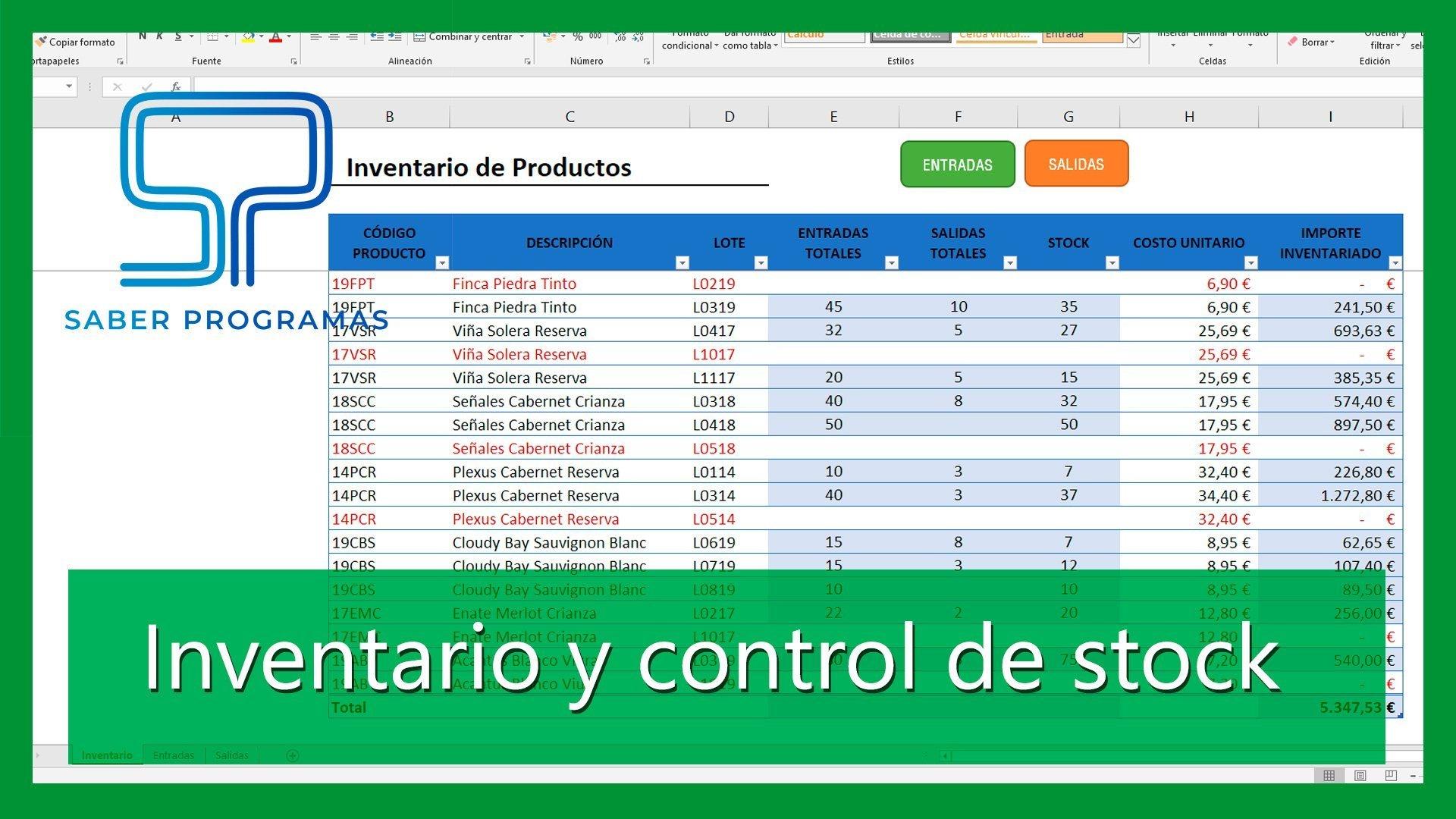 Control de almacén en Excel