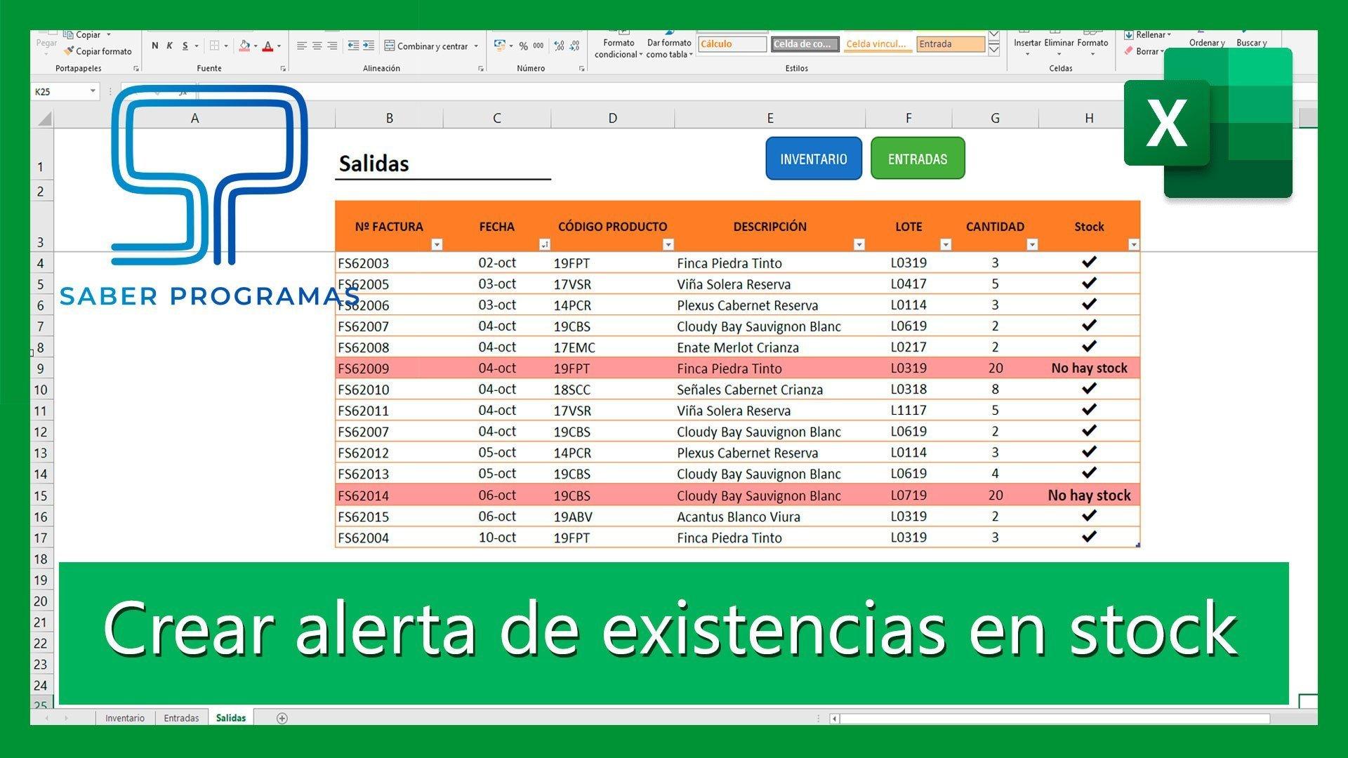 Crear alerta de stock en inventario de Excel