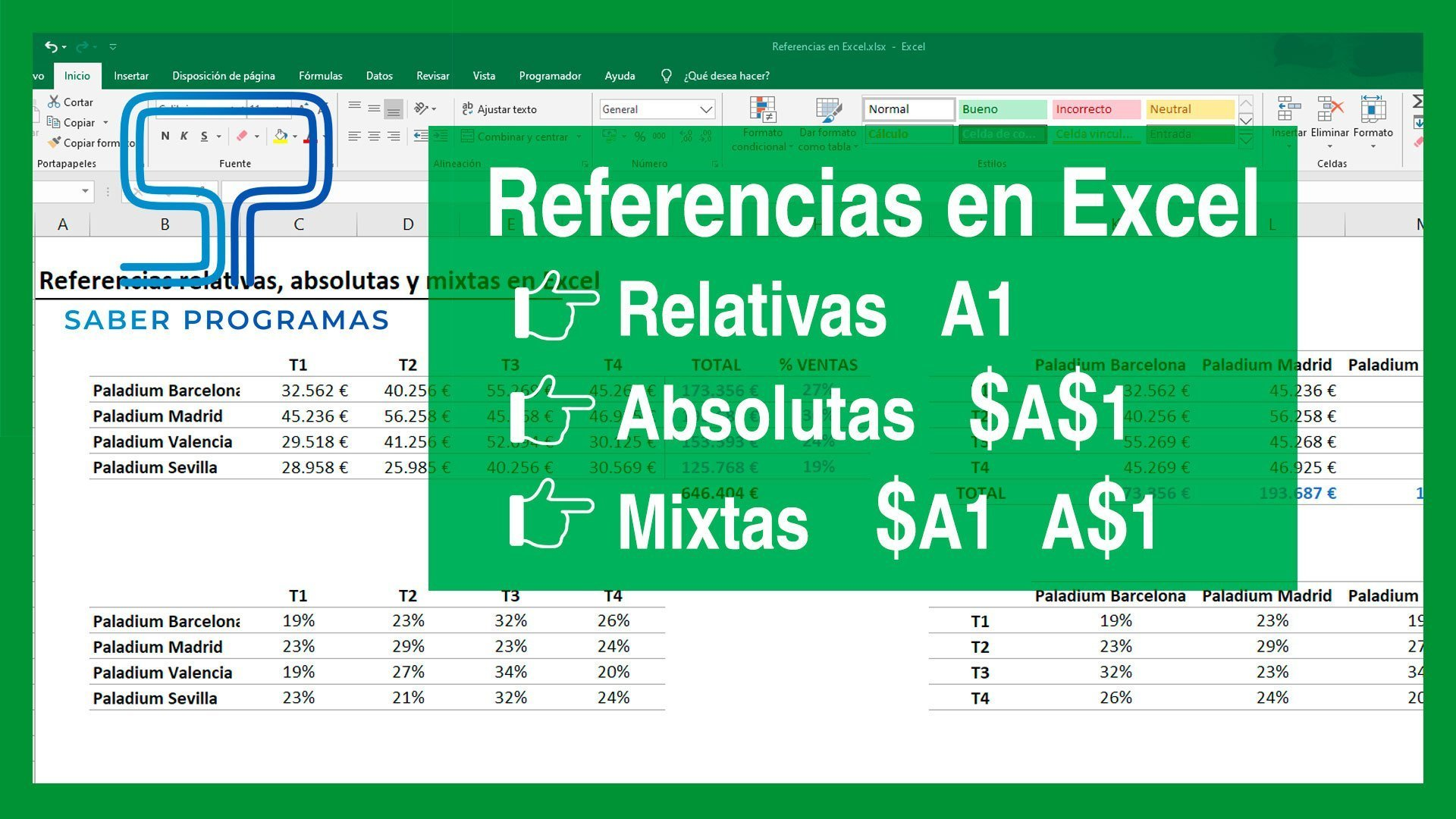 Referencias en Excel | Relativas, absolutas y mixtas