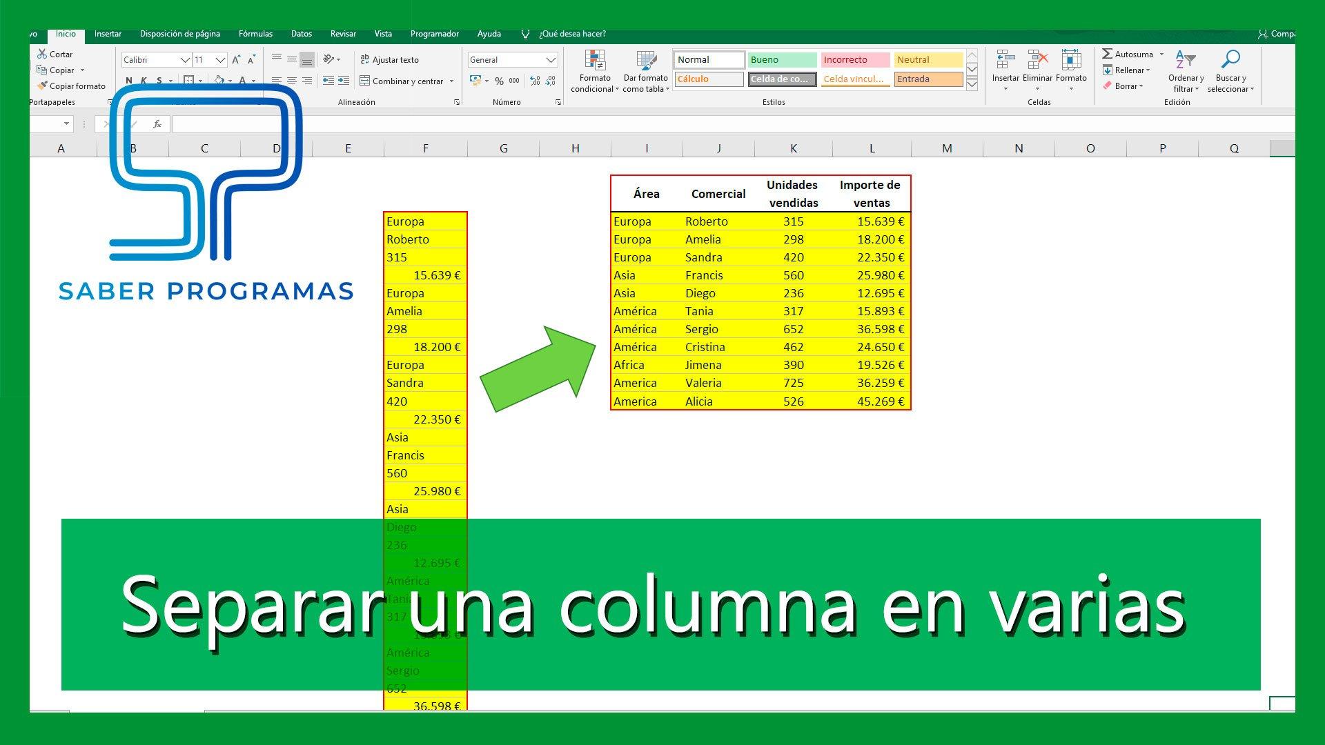 Pasar datos de una columna a varias en Excel