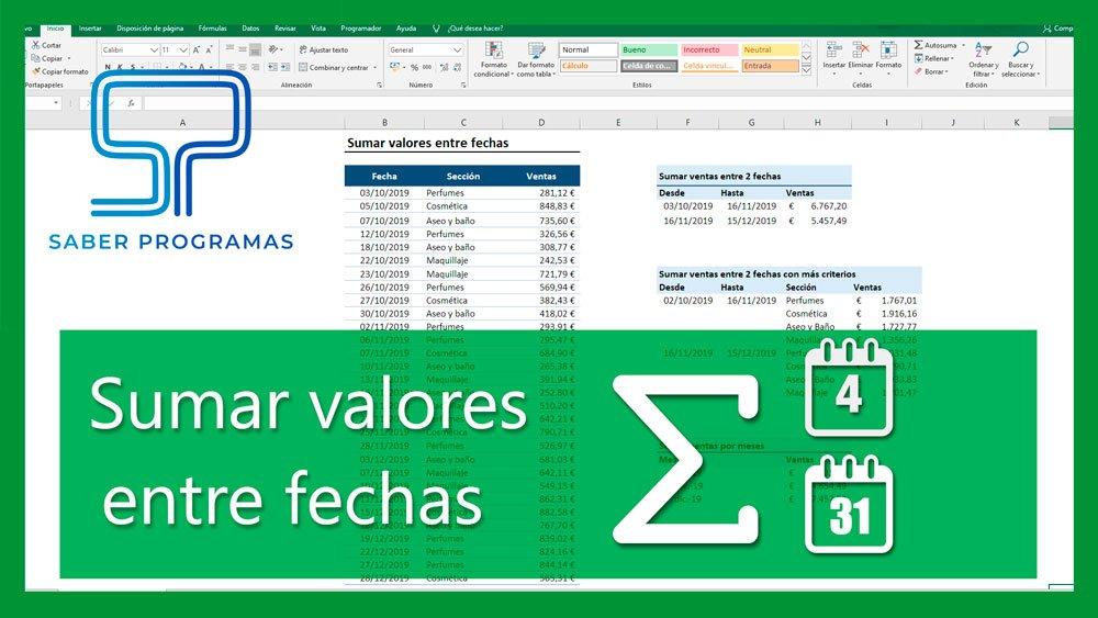 Sumar valores entre fechas en Excel