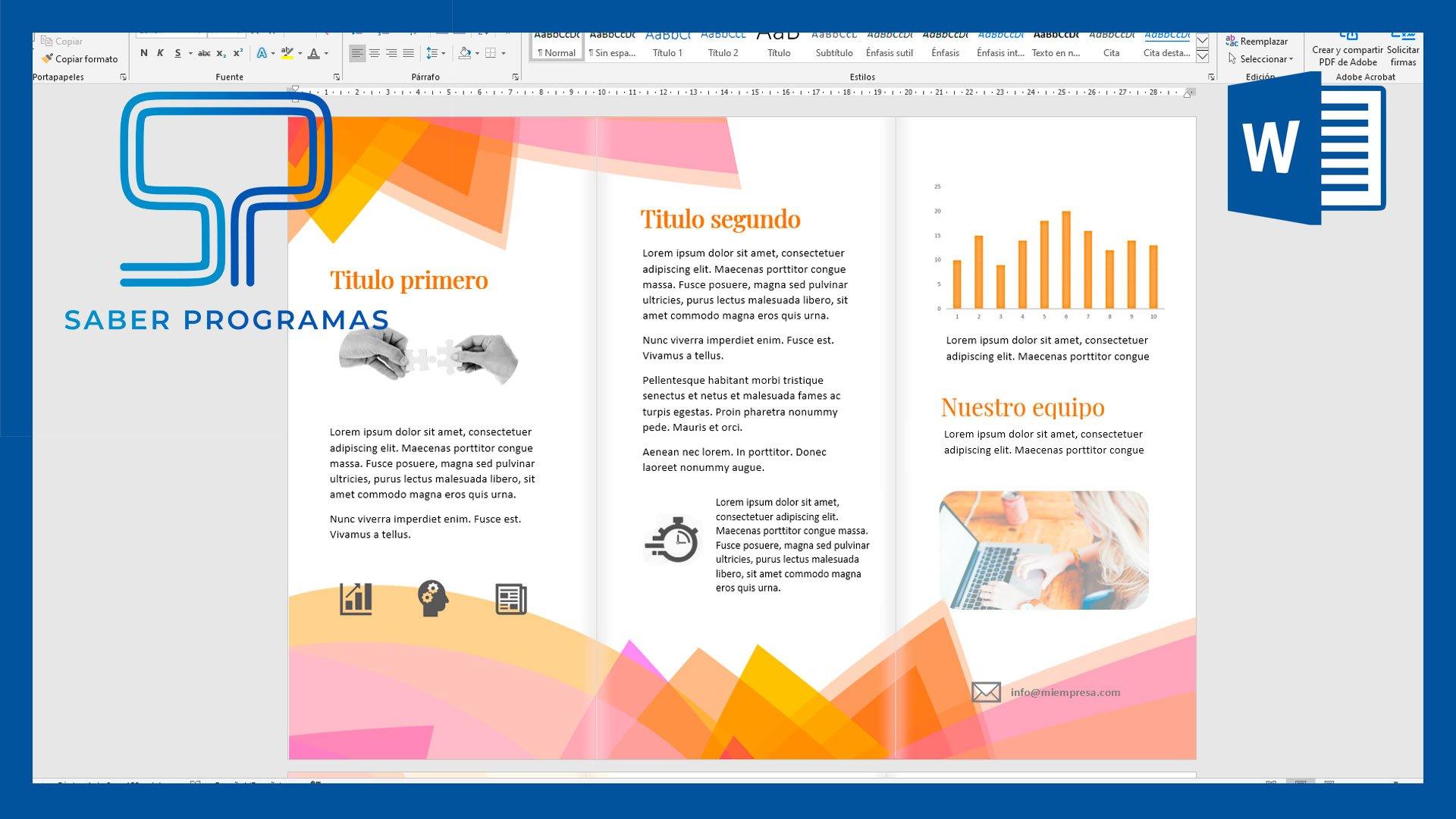 Tríptico en Word, diseño e impresión