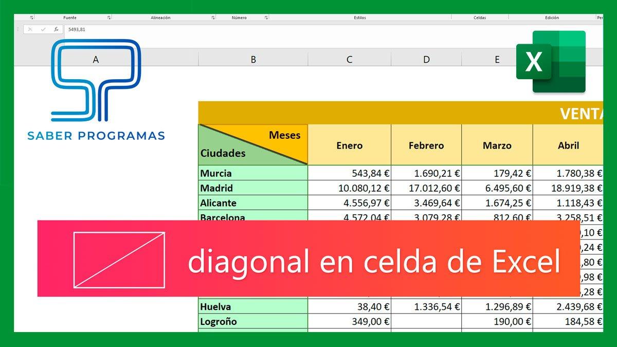 Crear diagonal en celda de Excel