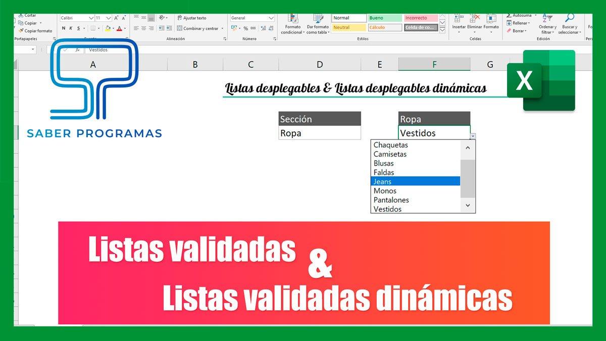Listas desplegables en Excel | todas las opciones