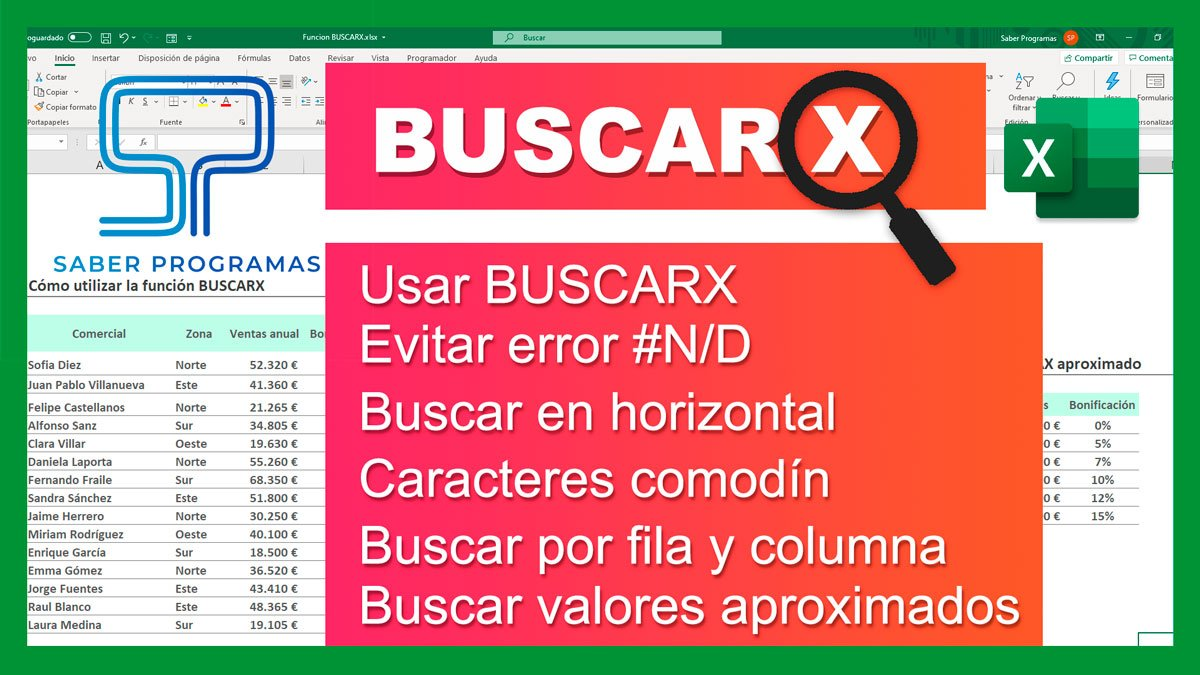 Función BUSCARX en Excel 🔍