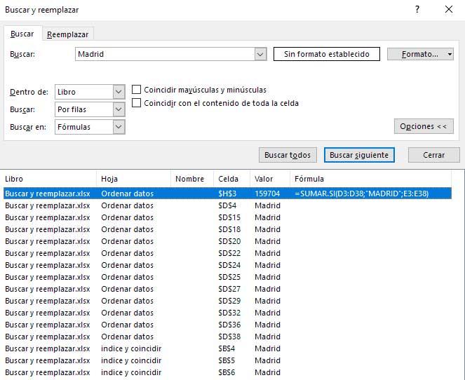 buscar reemplazar Excel