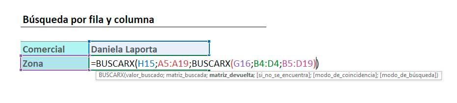 BUSCARX en Excel