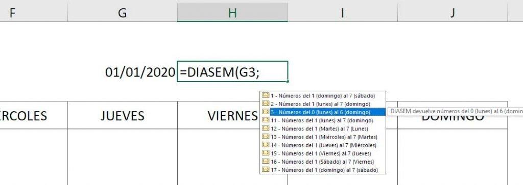 calendario perpetuo en Excel