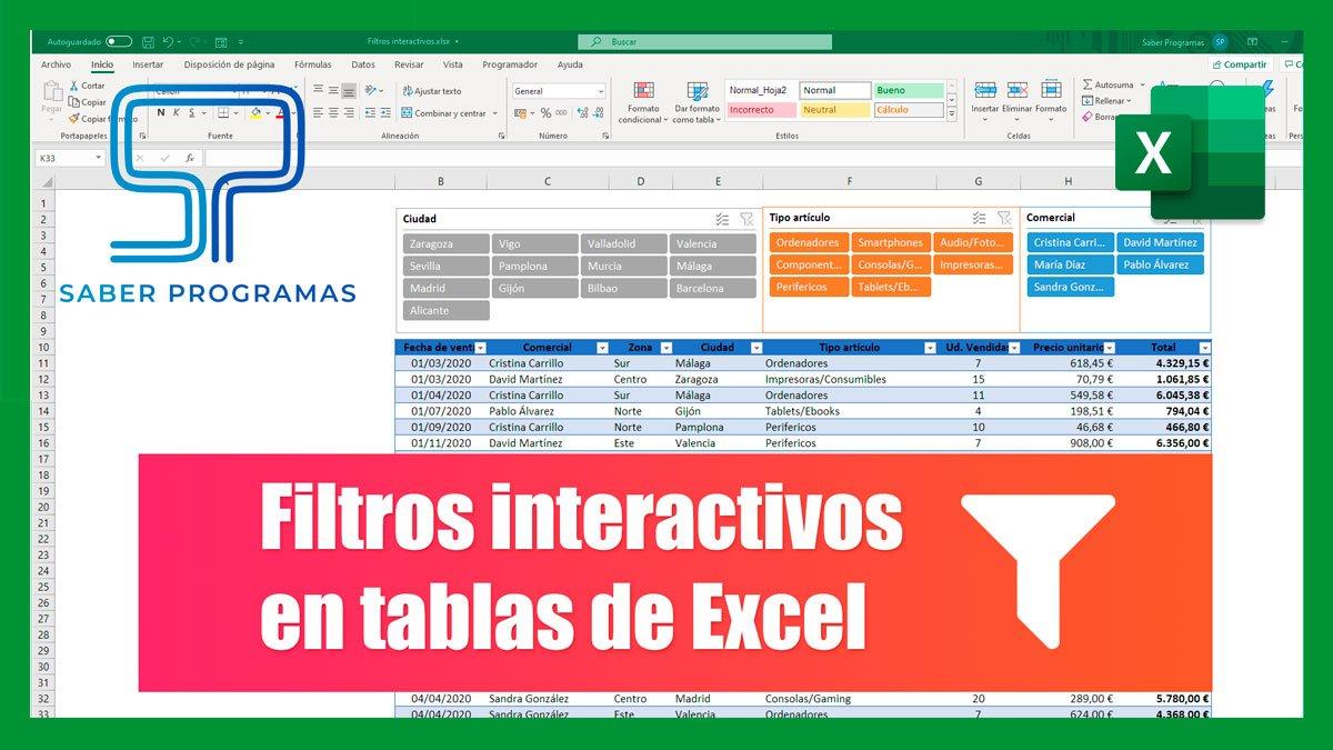Filtros interactivos en Excel | Segmentación de datos
