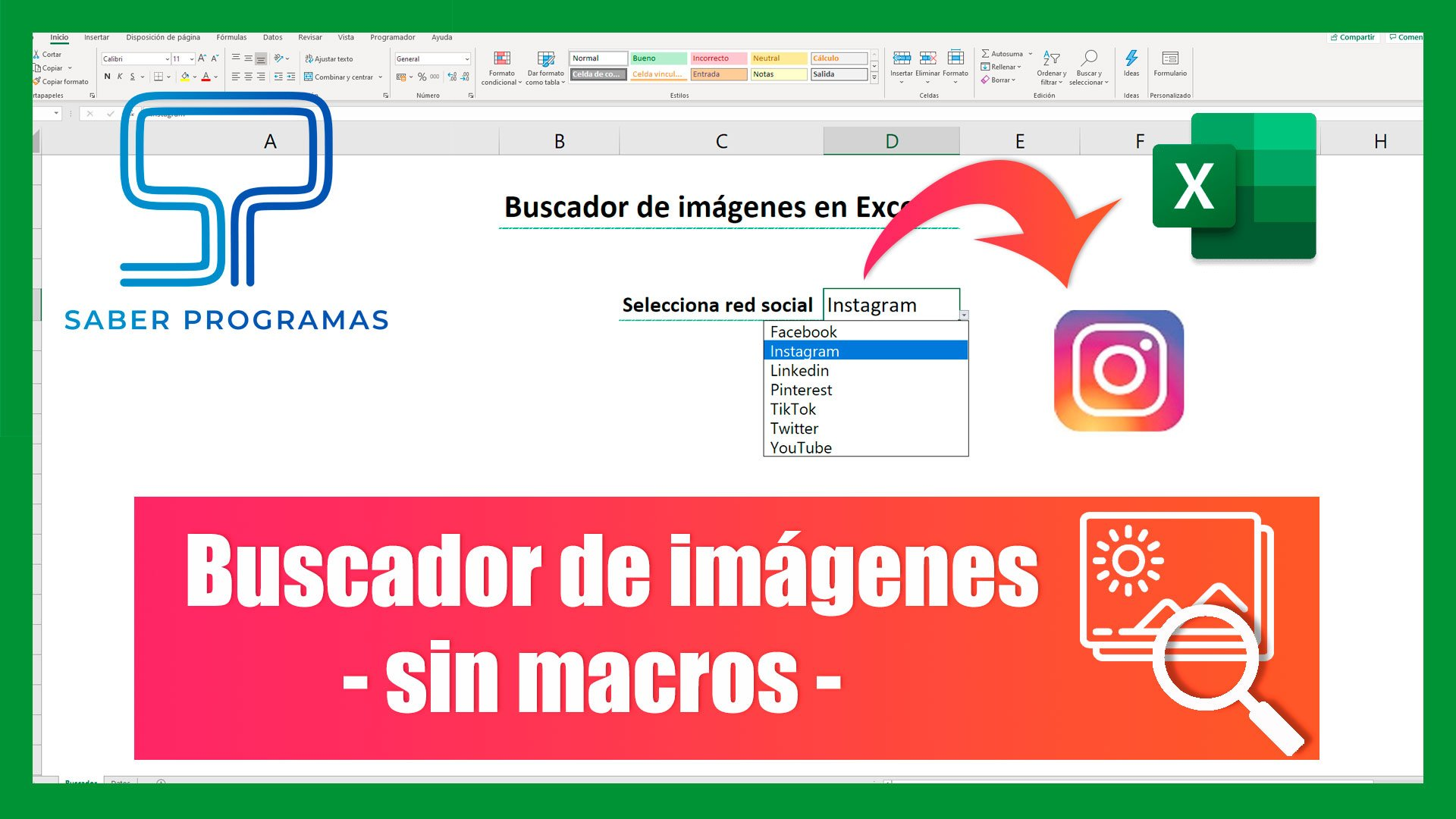 Buscador de imágenes en Excel, sin macros