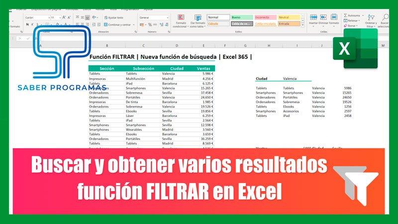 Función FILTRAR en Excel | Buscar y obtener varios resultados