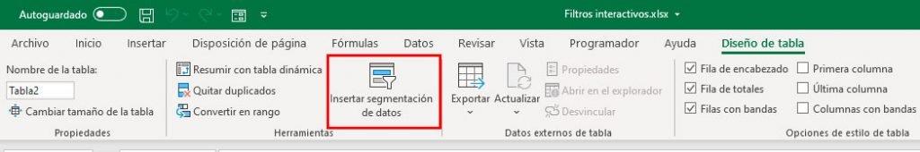 filtros interactivos en Excel