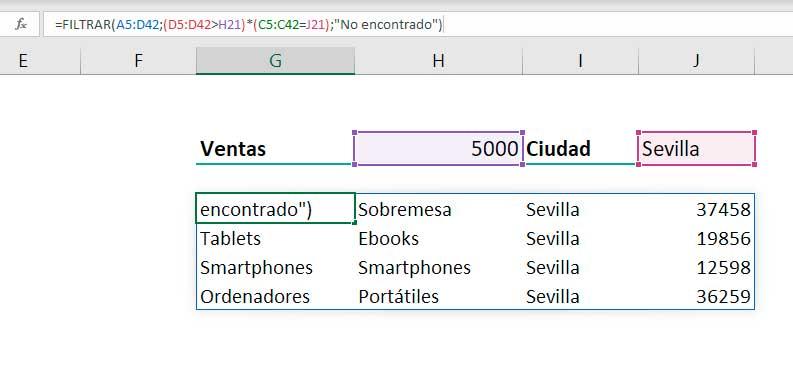 Función FILTRAR en Excel