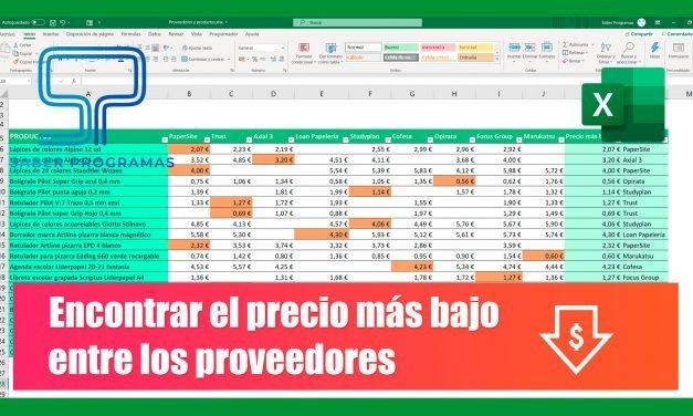 Calcular el precio más bajo en excel | mejor proveedor