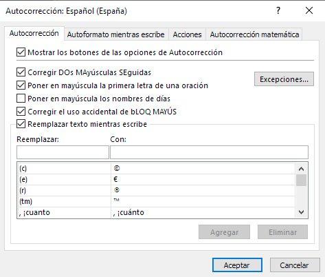 corregir textos en Excel