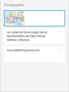 Historial de portapapeles en Windows 10