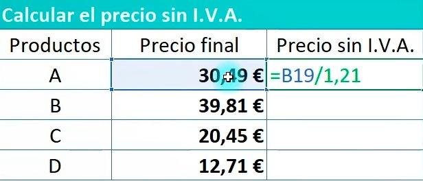 calcular IVA en Excel
