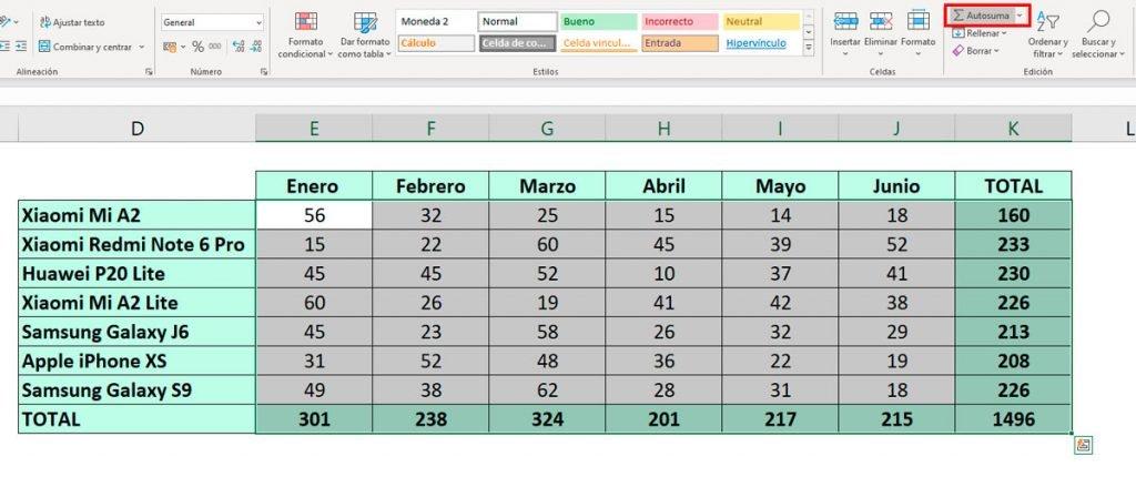 sumar en Excel