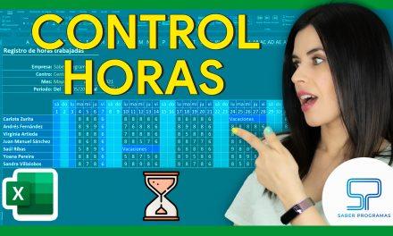 Control de horas trabajadas en Excel